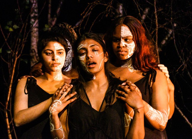 A photograph from the 2018 production of Medea at Keble College, Oxford.