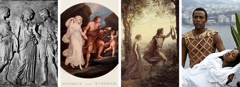 Four depictions of Orpheus and Eurydice: a relief, an engraving, a painting and a still from a film.