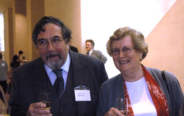 A photograph from 2004 showing Robin Griffin and Pat Story at the launch of the digital materials for the CLC
