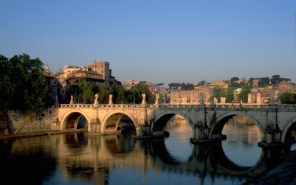 A view of the Ponte Sant'Angelo (bridge) in Rome